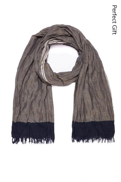 Brown, White and Blue Cotton Scarf